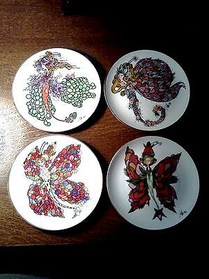 TOLLER CRANSTON LIMITED EDITION COLLECTIBLE RARE WINGED FANTASIES PLATES ALL 4