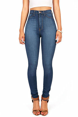 VIBRANT Women High Waist Rise Classic Skinny Jeans Waisted Denim Long Pants USA