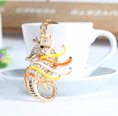 Hippocampal Sea Horse Charm Pendent Rhinestone Crystal Purse Bag Key Chain Gift