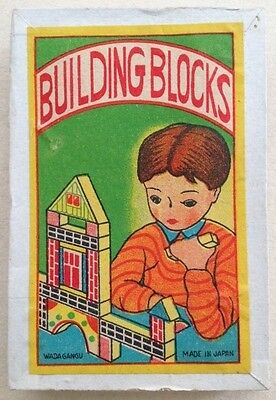 "JAPAN 1950s VINTAGE WOODEN TOY ""BUILDING BLOCKS"" WITH ORIGINAL BOX"