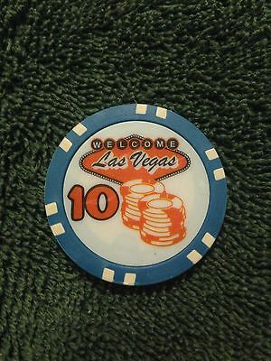 WELCOME LAS VEGAS $10 POKER CHIPS 50 CHIP ROLL.  **FREE SHIP**