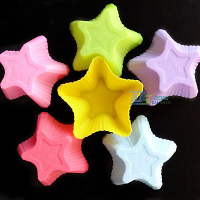 10 Pcs Stars Silicone Muffin Cup Cake Pastry  Baking Mould Jelly Soap Mold Maker