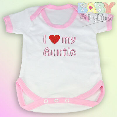 """""""I Love {Heart} My Auntie"""" Embroidered Baby Vest Pink Trim - Babygrow Baby Gift"""