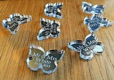 Personalised Wedding Table Decorations Favours Confetti Silver Mr Mrs Butterflys