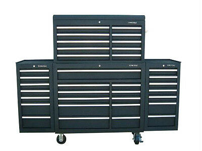 "24 US PRO Tools Black Tool Chest Box Snap Up 2 side cabinet 75"" finance option!"