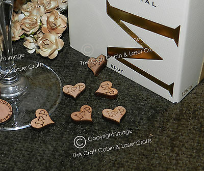 Personalised Mini Wood Hearts, Confetti, Table Decorations, Vintage Weddings