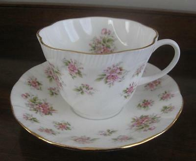 LOVELY QUEEN'S ENGLAND CUP & SAUCER TINY PINK BUDS GOLD TRIM CHINTZ