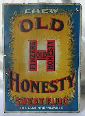 FINZERS' OLD HONESTY TOBACCO ANTIQUE EMBOSSED TIN SIGN