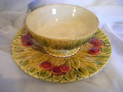 Antique Sarreguemines French Majolica Bowl and Attached Plate-c1865-ULTRA RARE!!