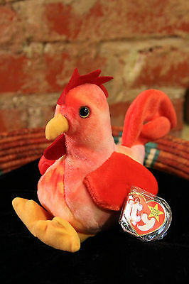 """Retired 1996 TY Beanie Baby """"Strut"""" the Rooster #4171 Tag Protector - MINT"""