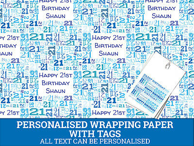 Personalised Happy 21st Birthday Wrapping Paper