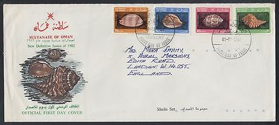 1982 Oman addressed FDC to UK, Marine Life [cm339]