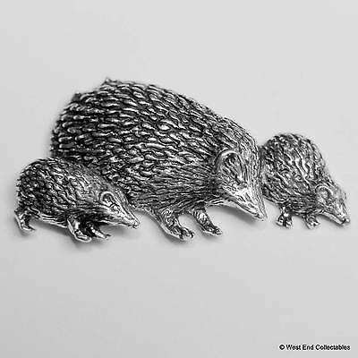 Hedgehog Family Pewter Pin Brooch - British Hand Crafted - Echidna, Porcupine