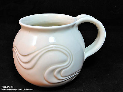Hand Crafted ART POTTERY MUG Round White Coffee Tea Cup Wavy Design Signd George