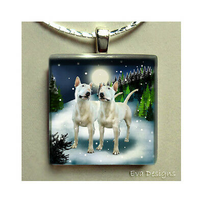 BULL TERRIER DOGS MOON NECKLACE JEWELRY ART PET GIFT GLASS TILE PENDANT & CHAIN