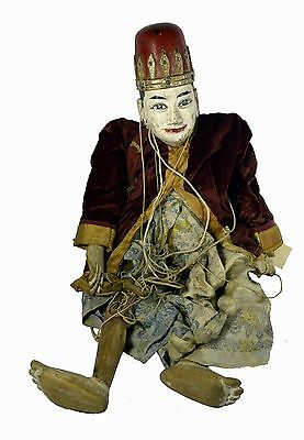 "Antique 35"" Hand Carved Indonesian Theater String Puppet Marionette Ornate Head"