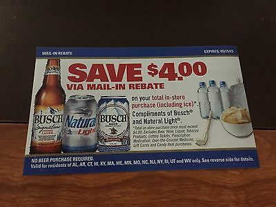 2) $4  Busch Total Purchase Rebate  Forms NBPN. NEW for JANUARY