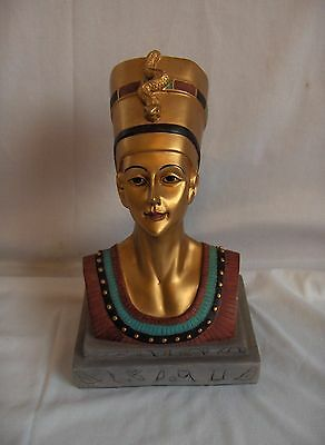 Vintage Cleopatra Queen Nefetitti Isis Bust Figurine Egyptian Statue NICE