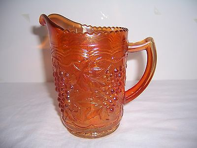 """Vintage Carnival Imperial Glass Pitcher Marigold Grape & Cable 6""""  Mrkd"""