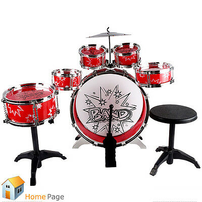 Jazz Drum Set Chair Bass Cymbal Foot Pedal Music Toy Instrument for Kids Develop