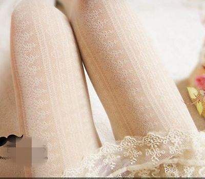 Women black white Vintage lace embroidery Stockings Pantyhose Tights Opaques