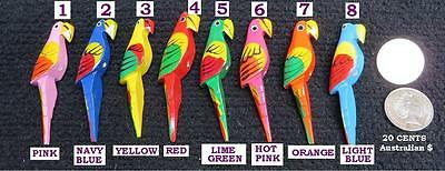 Hand Carved Wooden Parrot Bird 8 colors (3 pcs/pack)