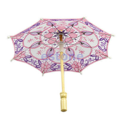 1pc Embroidered Lace Parasol Umbrella For Bridal Party Wedding Decoration