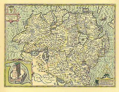 Ulster Northern Ireland Replica J. Speed c.1610  Old Map  ALL HAND COLOURED