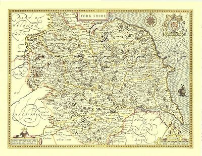 Yorkshire Historic Replica Old John Speed 1610 Map ALL Hand Coloured COUNTY Map