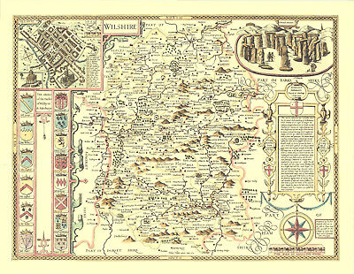 Wiltshire Stonehenge Replica  Old  Speed COUNTY Map c1610 100% ALL HAND COLOURED