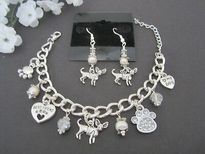Chihuahua Charm Bracelet & Earrings w/ Fwater Pearls & Swrosvski Crystals