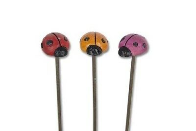 Miniature Dollhouse FAIRY GARDEN - Ladybug Picks Set of 3 - Accessories