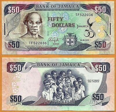 JAMAICA 2012 Currency JMD New GEM UNC One 50 Dollars Banknote Paper Money Bill