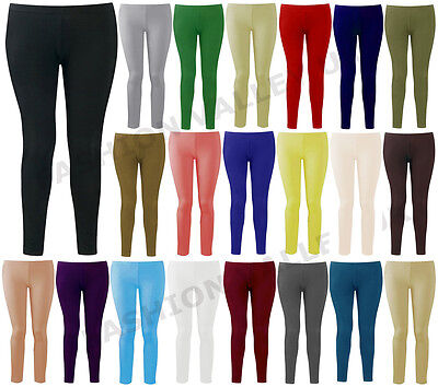 Womens Ladies Plain Stretchy Full Ankle Length Leggings Legging Plus Size 8-26