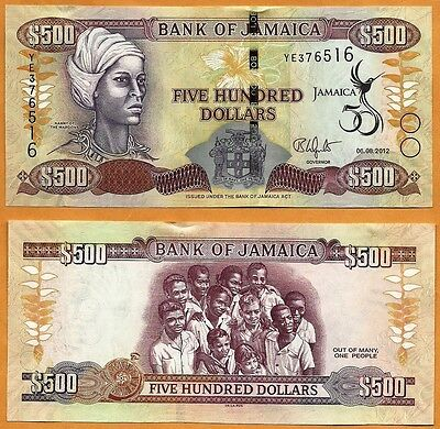 JAMAICA 2012 Currency JMD New GEM UNC One 500 Dollars Banknote Paper Money Bill