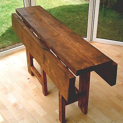 New Hand Made Rustic Drop Leaf Kitchen Dining Table in Thick Solid Wood