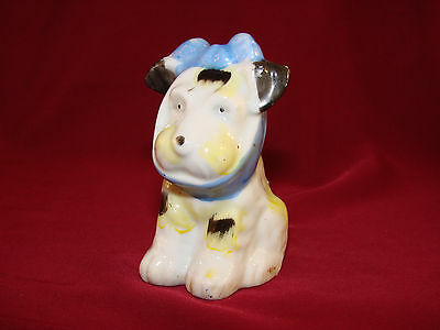"""Vintage OCCUPIED JAPAN Scotty Terrier Dog Figurine Toothache Mumps Blue Bow 3+"""""""