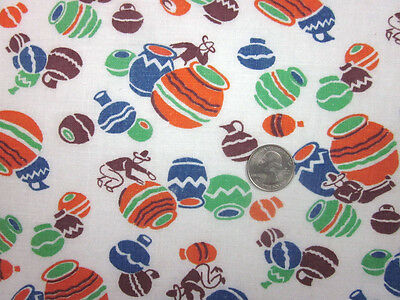 "Feedsack ""NOVELTY""  Vintage ""MAN & HIS POTS"" 100% Cotton Quilt & Sewing Fabric"