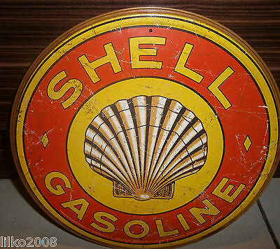 """Shell Gasoline (1920's Logo),round Vintage-Style 12"""" Metal Wall Sign Oil/petrol"""
