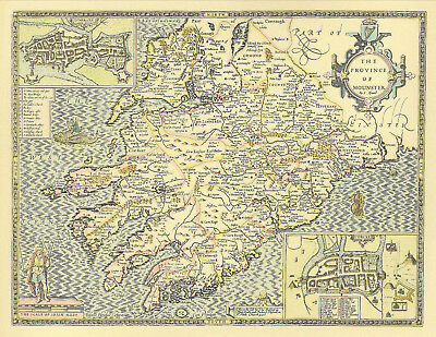 Munster Province IRELAND Replica Historic John Speed 17c. Old Map HAND COLOURED