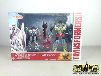 Transformers Silver Knight Grimlock Optimus Prime 2 pack Age of Extinction