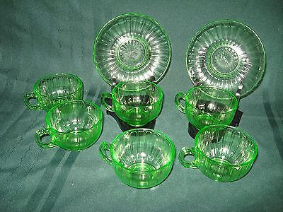 Green Depression Glassware Six Cups & Two Saucers