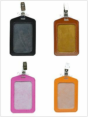 Vertical PU Leather ID Badge with 1 ID Window and 1 Card Slot & Alligator Clip
