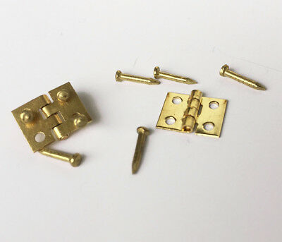 24 Miniature Hinges for Doll's house Furniture Brass Hardware W/Nails 8x10mm