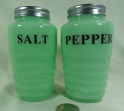 Range Size Ribbed Jadite Salt & Pepper Shakers W/Metal Lids Green Milk Glass NEW