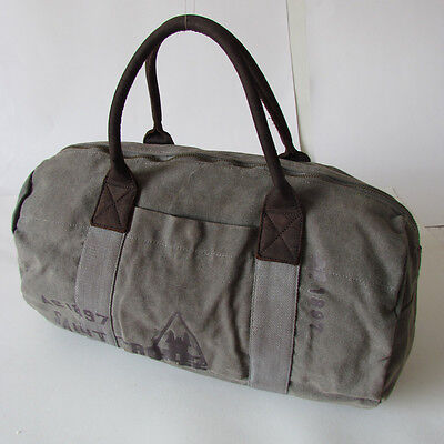 Large Canvas & Leather Men's Weekender Travel Luggage Duffle Gym Bags Vintage