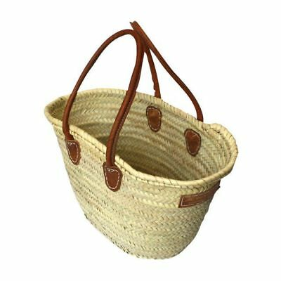 Woven French Market Basket Shopping Picnic Deluxe Leather Shoulder Handles