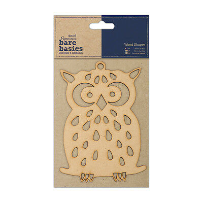 "Docrafts Papermania wood craft embellishment Bare basics wooden Owl 3x4""(7x10cm)"