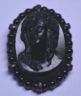 Antique Victorian Molded Black Glass Cameo Oval Mourning Pin
