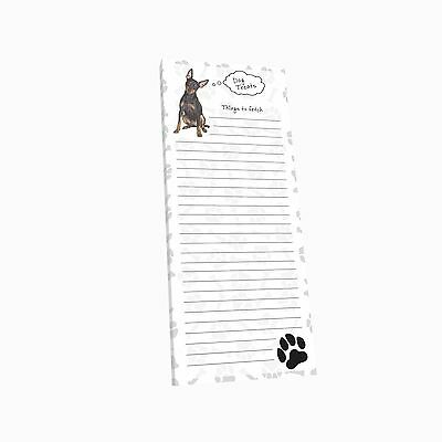 Got Yo Gifts Lined Magnetic Dog List Pad NEW Miniature Pinscher Minpin Min Pin